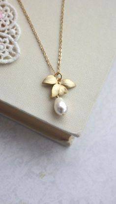 Orchid Flower Pearl Gold Necklace. An Orchid Jewelry. Bridesmaids Gifts. Gold Orchid Flower Rustic Wedding By Marolsha.