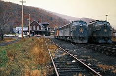 B&O, East Salamanca, New York, 1974 Baltimore and Ohio Railroad freight trains at the depot in East Salamanca, New York, on October 20, 1974. Photograph by John F. Bjorklund, © 2016, Center for Railroad Photography and Art. Bjorklund-92-13-01