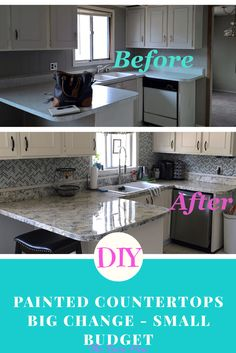 Kitchen Remodel On A Budget DIY Painted Countertops - Big Change On A Small Budget (Diy Bathroom On A Budget) - How to paint your countertops to look like stone. Step-by-step instructions, plus a full item list. Start to finish DIY Painted Countertops. Bathroom Makeovers On A Budget, Budget Bathroom, Kitchen On A Budget, Diy On A Budget, Kitchen Makeovers, Kitchen Ideas, Cheap Kitchen, Kitchen Decor, Condo Decorating On A Budget