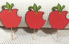 Apples  Cupcake toppers   Roygbivs@etsy