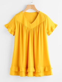 V Neckline Frill Trim Tiered Dress