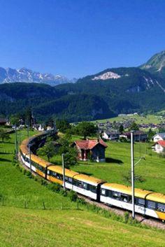 Golden pass train route (zweisimmen to montreux) switzerland (video Dream Vacation Spots, Dream Vacations, Places To Travel, Places To Visit, Travel Stuff, Switzerland Vacation, Train Route, Places Of Interest, Culture Travel