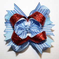 "10% off by liking Lebelle Boutique on Facebook...2.5"" Mini Dorothy Wizard of Oz Stacked Hair Bow. $6.49, via Etsy."