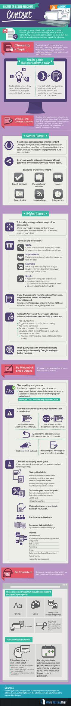 secrets of a Killer Blog Post: Content #infographic