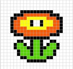 Free tutorial with pictures on how to make a beaded flower in under 10 minutes using perler beads. Inspired by super mario, geeky, and kawaii. How To posted by Difficulty: Easy. Melty Bead Patterns, Pearler Bead Patterns, Perler Patterns, Beading Patterns, Hama Beads Mario, Perler Beads, Garnstudio Drops, Arte 8 Bits, Modele Pixel Art