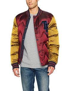 Quilted nylon tommy Hilfiger bomber jacket for men featuring baseball style color blocking in burgundy and gold, and a the varsity patch. Matte black snap button closure with zipper. Slit side pockets with snap button closure striped ribbed collar, sleeve openings, and back hem. This tommy...  More details at https://jackets-lovers.bestselleroutlets.com/mens-jackets-coats/lightweight-jackets/varsity-jackets/product-review-for-tommy-hilfiger-denim-mens-bomber-jacket-with-var