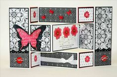 Tri-fold Shutter card Black and White by sleepyinseattle - Cards and Paper Crafts at Splitcoaststampers