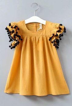 Flutter Sleeve PomPom Dress   Etsy