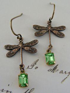 Earrings Vintage Dragonfly  Vintage by chloesvintagejewelry, $24.00