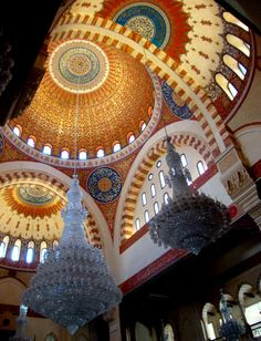 Inner ceiling cupolas of Hariri Mosque in downtown Beirut