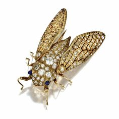 DIAMOND AND SYNTHETIC SAPPHIRE INSECT BROOCH