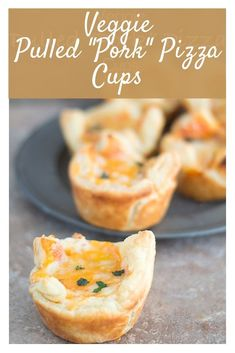 "Veggie Pulled ""Pork"" pizza cups made in a puff pastry shell is a delicious appetizer for kids and grown-ups Vegetarian Comfort Food, Vegetarian Cheese, Vegetarian Recipes, Appetizers For Kids, Yummy Appetizers, Pulled Pork Pizza, Pizza Cups, Pastry Shells, Veggie Pizza"