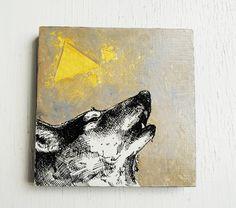 Wolf Triangles - Original Painting - 23k Gold Leaf - 6x6  Wall Art.  Geometric.  Howl.
