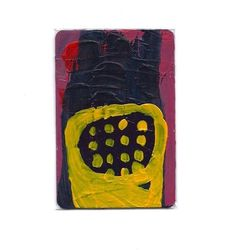 Small Abstract Original Art Painting Artist Trading Card/ACEO #yellow #art #aceo #abstract
