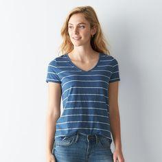 Women's SONOMA Goods for Life™ Slubbed V-Neck Tee, Size: Small, Blue (Navy)