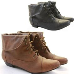 8d030eee3eec Ladies Womens Brown Black Vintage Style Lace up Winter Low Heel Short Flat  Pixie Ankle Boots