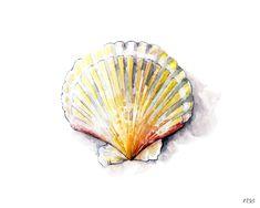 Muschel-2 Print aus Original Aquarell Sea von TheColorfulCatStudio
