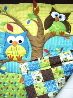 Owl Baby Blanket Quilt  Owls in Tree and by DesignsByDiBlankets, $115.00