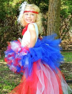4th of July Tutu with Blue Star Bustle and by LittleMissThangs, $38.00