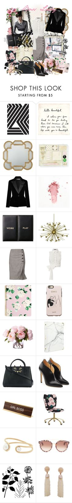 """She works hard for the money..."" by forget-me-not ❤ liked on Polyvore featuring Kate Spade, Oscar de la Renta, Jonathan Adler, Banana Republic, Marissa Webb, ban.do, Rifle Paper Co, russell+hazel, Charlotte Olympia and Chloe Gosselin"