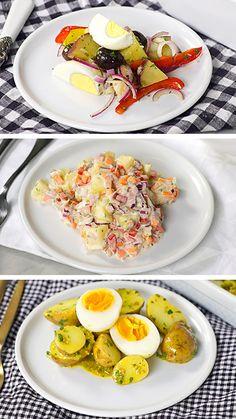 3 Types of Potato Salad ~ Recipe Vegetarian Crockpot Recipes, Pork Recipes, Salad Recipes, Cooking Recipes, Healthy Recipes, Healthy Breakfast Wraps, Breakfast Recipes, Dinner Recipes, Easy Casserole Recipes