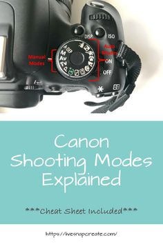 Jan 2019 - Learn what all the different shooting modes do on your Canon DSLR camera. A cheat sheet is included to help you navigate the camera modes.