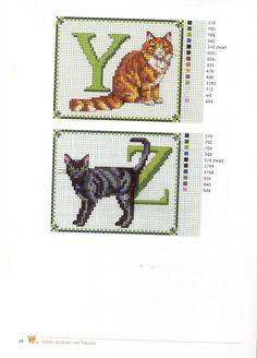 abc gatos Y-Z Cross Stitch Boards, Cross Stitch Letters, Cross Stitch Animals, Cross Stitch Alphabet Patterns, Cross Stitch Designs, Cross Stitching, Cross Stitch Embroidery, Cat Quilt, Zoom Zoom