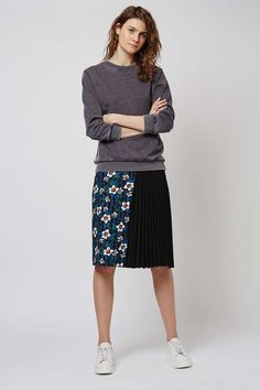 Flower Pleat Panel Midi Skirt - Topshop