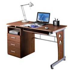 Deluxe Ergonomic Side Cabinet Compact Multifunction Computer Desk - Mahogany - This is a great desk for the dorm or at home. I love the selection of desks from ecWorld Imports on eBay. Great product, great price, great value.