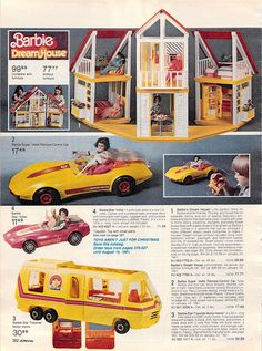 1980 Barbie toys - we had it all. Had our Barbie room off to side of my Dads macho pool table area (how emasculating. Christmas Catalogs, Christmas Books, Retro Toys, Vintage Toys, 1980s Toys, Childhood Toys, Childhood Memories, Gi Joe, Barbie Dream House