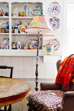 lamp made of antique lamp pieces & hand-painted shade;eclectic kitchen by Rikki Snyder