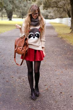 red skirt + novelty sweater + grey scarf + black shoes + black tights