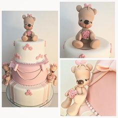 Baby Girl Cakes, Cute Cakes, Gum Paste, Beautiful Cakes, Wedding Cakes, Teddy Bear, Baby Shower, Instagram Posts, Animals