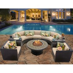 Found it at Wayfair - Barbados 8 Piece Fire Pit Seating Group with Cushion