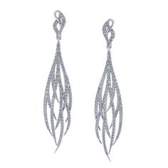breathtaking diamond feather earrings created by the artisans at Jewelry Designs in Danbury, Connecticut.