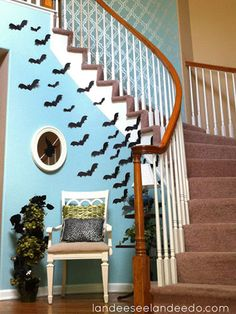 Show visitors that you've gone batty for #Halloween with this display of flying bats made from paper
