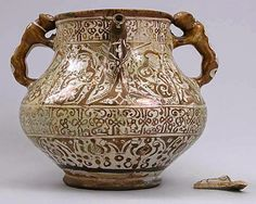Ewer Date: late century Geography: Iran, Rayy Culture: Islamic Medium: Stonepaste; glazed and luster-painted Classification: Ceramics Accession Number: Historical Artifacts, Ancient Artifacts, Ceramic Pottery, Pottery Art, Decoration, Art Decor, Traditional Tile, Persian Culture, Calla Lilies