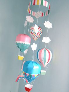 Paris Hot Air Balloon Mobile Printable Paper by FantasticToys