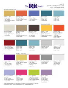 Our ColoRit Color Formula Guide contains our archived formulas for mixing over 500 colors using Rit Dye's core colors sold in stores and online.