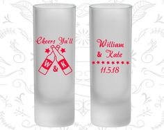 Cheers Yall Wedding, Frosted Shooter Glass, Monogrammed, Monogram (269)