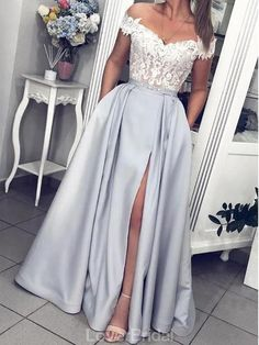 Gray Satin White Lace Off Shoulder Strapless Long Prom Dress, Evening Dress from.Gray Satin White Lace Off Shoulder Strapless Long Prom Dress, Evening Dress from Girlsprom - Handmade item Materials: Sat# dress # Prom Dresses With Pockets, Pretty Prom Dresses, Prom Party Dresses, Dress Prom, Wedding Dresses, Occasion Dresses, Long Formal Dresses, Bridesmaid Gowns, Party Gowns