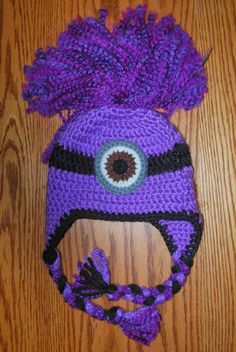 Hand Me Down Hobby: Evil Minion Ear Flap Hat, free pattern. I love his hair! So cute.