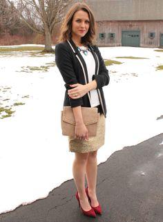 Navy blazer + Gold skirt #WearWallisFashion