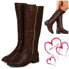 """Shelbi Riding Boots 7 1/2 Designed with leatherette upper, contrast stretch canvas fabric panels, zipper decor, almond toe, low flat heel, side zipper closure, stitching detail, and finished with cushioned insole for comfort. Material: Leatherette (man-made) Measurement (tested sz 6; approx.): Heel 1.25"""" Shaft(w/heel) 16"""" Opening Circumference 14"""" Sole / Padding: Synthetic non-skid sole / cushioned foot bed with padded insole Closure: Zipper Shoes Heeled Boots"""