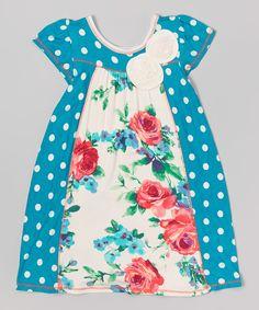 This Vanilla Crème Jade Polka Dot Rose Empire-Waist Dress - Toddler & Girls by Vanilla Crème is perfect! #zulilyfinds