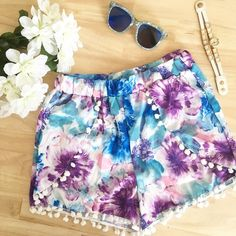 Watercolor Pom Pom Shorts Watercolor Pom Pom shorts. Multicolored. High waisted. True to size. Never been worn. Material is polyester blend. No trades. No PayPal. Also available in size 4 Instagram: @Jhennay262 Shorts