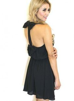 Black+Double+Bow+Back+Sleeveless+Dress,++Dress,+double+bow+elastic+waist+sleeveless,+Chic