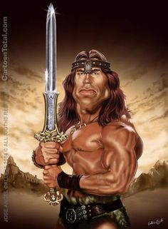Arnold Schwarzenegger aka Conan The Destroyer Funny Caricatures, Celebrity Caricatures, Arnold Schwarzenegger, Cartoon Faces, Funny Faces, Caricature Artist, Conan The Barbarian, Funny Cartoons, Humor