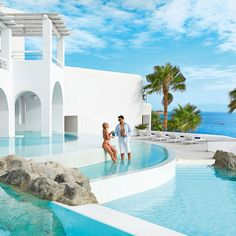 Mykonos Blu at a glance. Visit Mykonos Blu luxury resort and find out why this is one of the most sought-after hotels in the Aegean! Mykonos Hotels, Mykonos Villas, Greece Honeymoon, Honeymoon Hotels, Honeymoon Ideas, Mykonos Island, Mykonos Greece, Mykonos Blue, Athens Greece