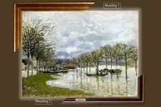 Canvas framed print, Alfred Sisley_The Flood on the Road to Saint-Germain, giclee canvas, gold framed, nameplate